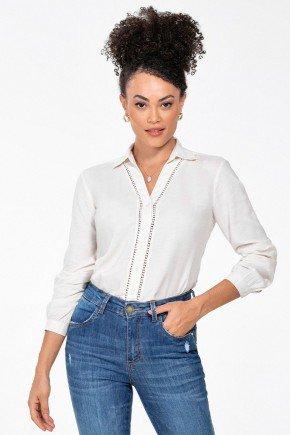 camisa manga longa com detalhes em renda mendy frente