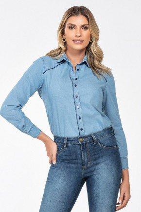 camisa jeans manga longa monalisa frente