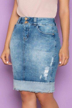 saia jeans detalhe na barra nitido