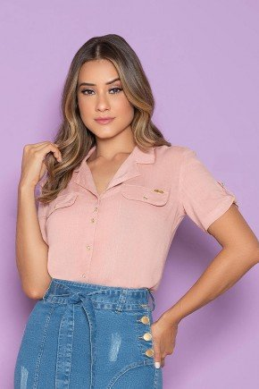 camisa feminina rose com lapela nitido jeans cima