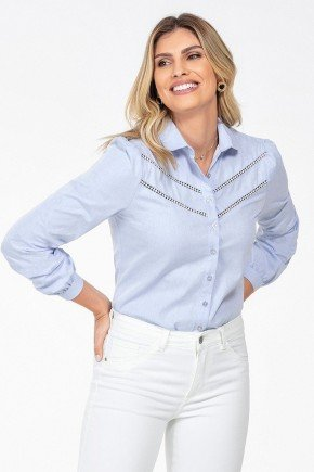 camisa azul claro manga longa bufante magda frente