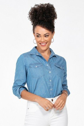 camisa jeans azul feminina manga longa monica frente