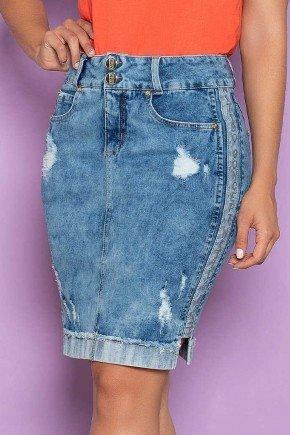 saia jeans estampa lateral barra do avesso nitido baixo