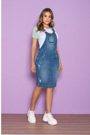salopete jeans com bolso funcional nitido