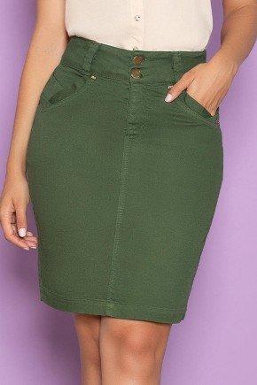 saia jeans verde militar com bolso funcional nitido baixo