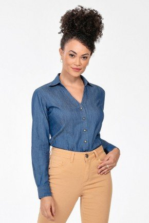 camisa feminina jeans manga longa maisa frente