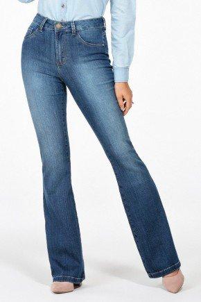 calca jeans flare cintura media mel frente