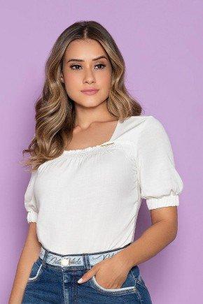 blusa off white manga curta decote quadrado nitido cima