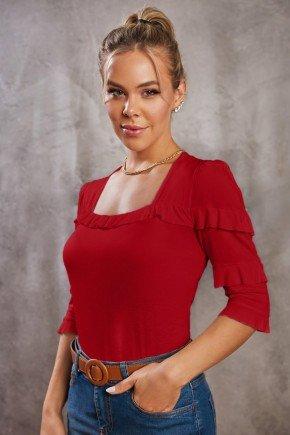 blusa vermelha decote princesa e babadinhos via tolentino