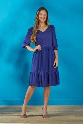 vestido azul marinho soltinho com babados tata martello