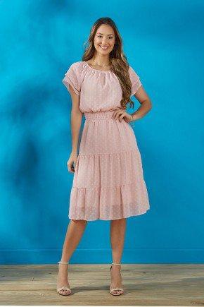 vestido rosa claro em chiffon tata martello