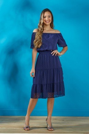 vestido azul marinho em chiffon tata martello