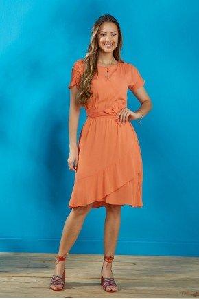 vestido laranja transpassado tata martello