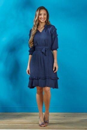vestido azul marinho mangas 3 4 com guippir tata martello