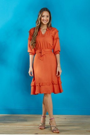 vestido laranja mangas 3 4 com guippir tata martello