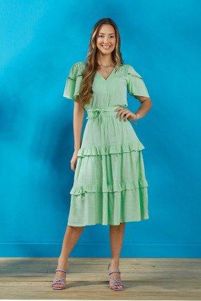 vestido verde menta em viscolinho com babados tata martello