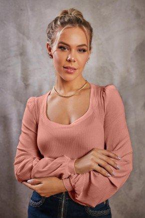 blusa rose manga longa decote quadrado via tolentino