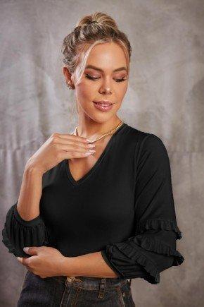 blusa decote v com babados preta