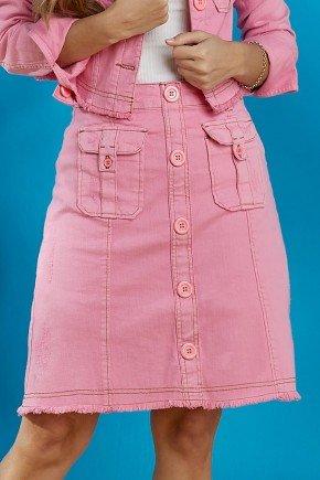 saia jeans evase rosa tata martello baixo
