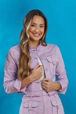jaqueta jeans feminina destroyed lilas tata martello