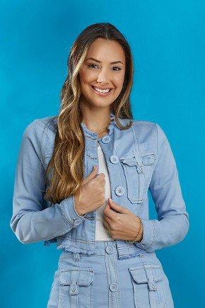 jaqueta jeans feminina destroyed azul bebe tata martello