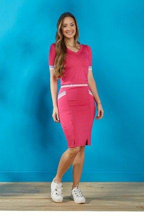 conjunto feminino pink detalhe elastico tata martello