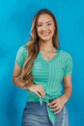 blusa verde claro listrada com amarracao tata martello