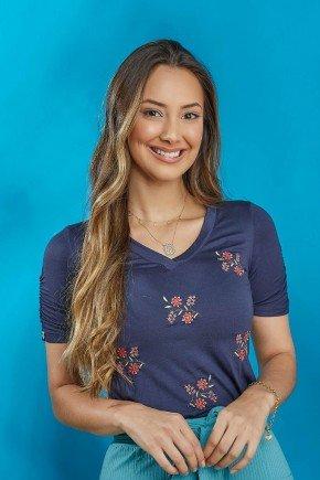 blusa azul marinho com bordados tata martello