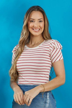 blusa creme listrada com vermelho tata martello