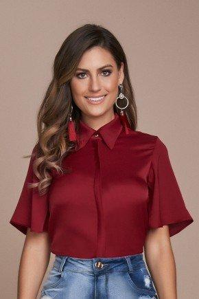 camisa feminina acetinada vermelha titanium jeans cima