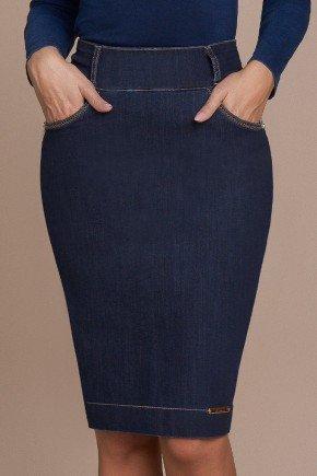 saia jeans reta azul marinho titanium baixo