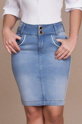 saia jeans detalhe em vies branco titanium baixo