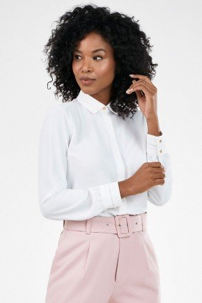 camisa feminina off white manga longa priscila frente