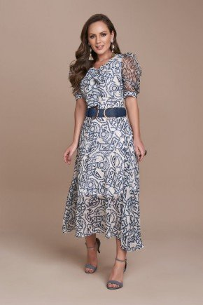 vestido plano estampa corrente azul mangas bufantes titanium