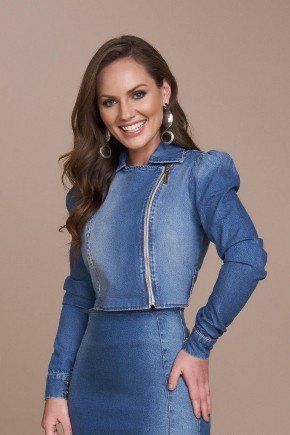 jaqueta feminina jeans ziper aparente titanium cima
