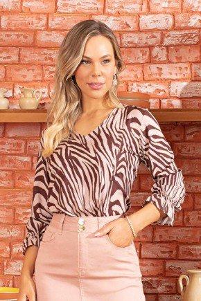 blusa estampada mangas com punhos franzido via tolentino 1