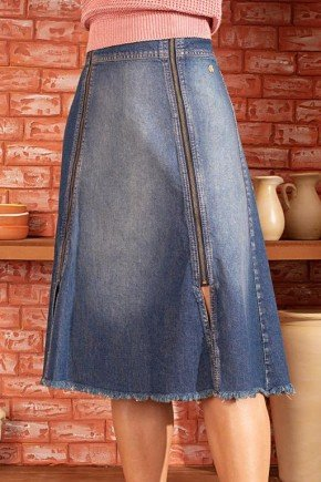 saia jeans evase aberturas frontal com ziper via tolentino 1