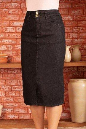 saia feminina jeans preta fenda frontal via tolentino 1