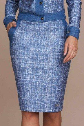 saia lapis estampa exclusiva em sarja titanium jeans baixo