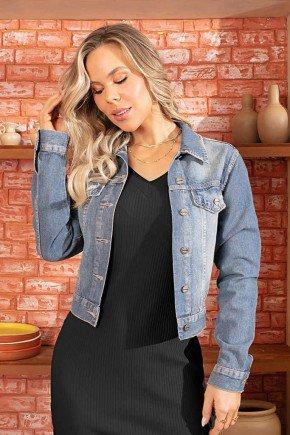 jaqueta feminina jeans recortes frontais via tolentino 1