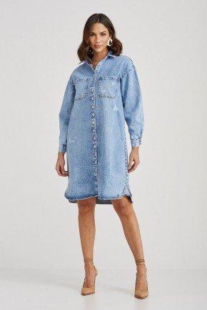 chemise jeans manga longa bolsos frontais flora challot hadock 1