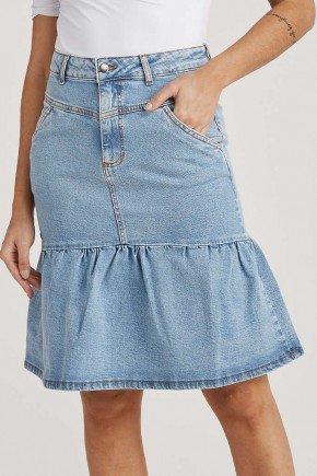 saia feminina jeans evase azul claro cleide challot hadock 1
