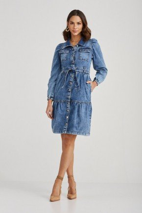 vestido jeans bolsos frontais manga bufante penelope challot hadock 2