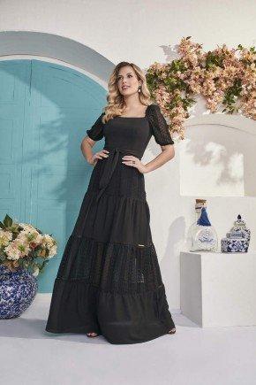 vestido longo preto crepe maquinetado amarracao fascinius