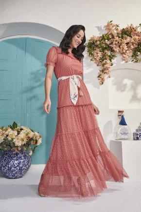 vestido longo tule poa decote em lastex fascinius