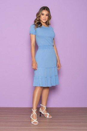 vestido azul bebe cintura com lastex nitido jeans 6