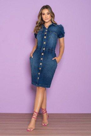 vestido chemisie malha denim cintura marcada nitido jeans 1