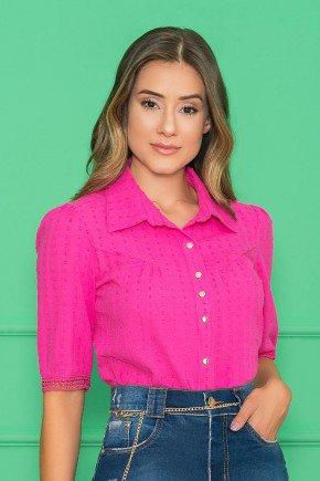 camisa feminina pink mangas 34 com guipir nitido jeans 1