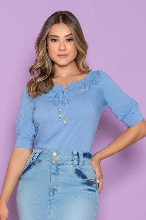 blusa feminina azul claro decote com babados nitido jeans 3