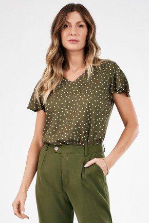 blusa feminina de poa verde militar nilda frente